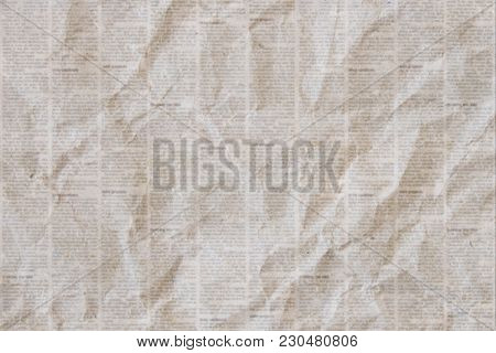 Old Crumpled Grunge Newspaper Paper Texture Background. Blurred Vintage Newspaper Background. Crumpl