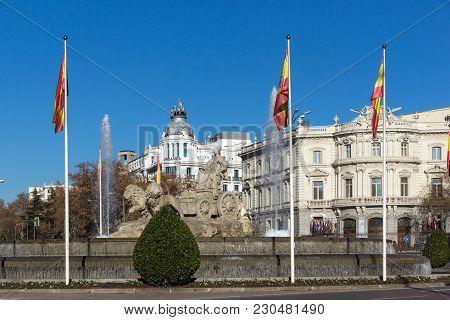 Madrid, Spain - January 21, 2018: Fountain Of The Goddess Cibeles In City Of Madrid, Spain