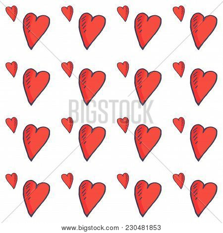 Love Vector Seamless Pattern: Sketchy Etching Hearts In A Doodle Style. Hearts Or Nubes Cute Romanti