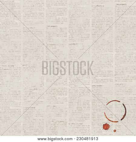 Old Vintage Grunge Unreadable Newspaper Paper Texture Square Background With Coffee Cup Trace And Co