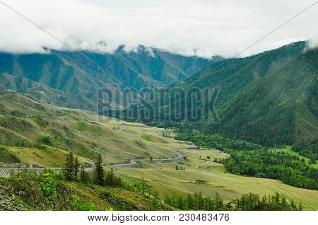 Landscape Of A Mountain Valley. Chike-taman Road Pass, Altai.