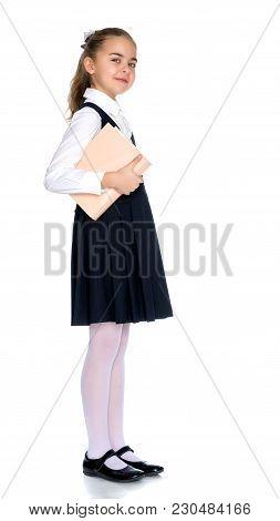 Girl Schoolgirl With Book.
