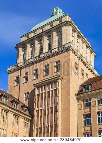 Zurich, Switzerland - 13 October, 2013: The Tower Of The Main Building Of The University Of Zurich.