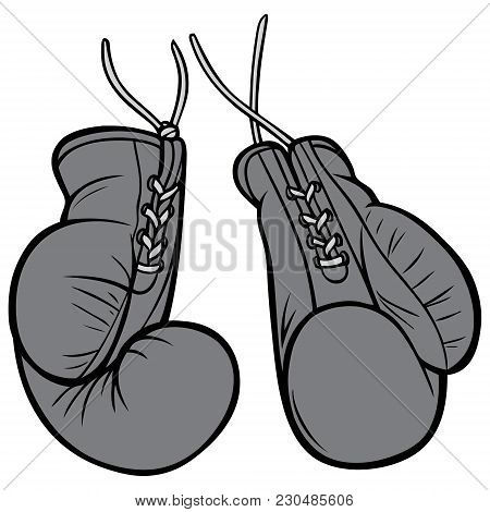 Vintage Boxing Gloves Illustration - A Vector Cartoon Illustration Of A Pair Of Vintage Boxing Glove