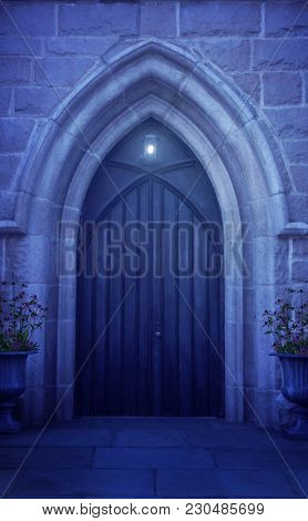 An Archway Doorway At Night Time With A Light On Overhead.