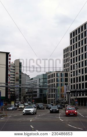 Stuttgart, Germany - February 03: Business Buildings, Hotels And Traffic Along The Theodor-heuss-str