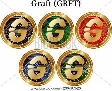 Set Of Physical Golden Coin Graft (grft), Digital Cryptocurrency. Graft (grft) Icon Set. Vector Illu
