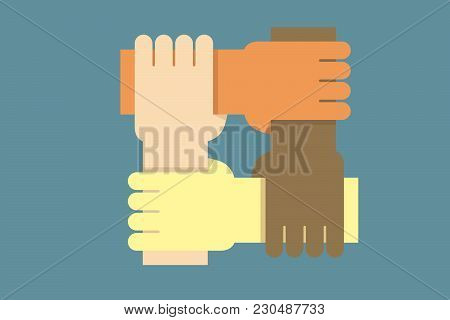 Background Design With Hands From People Of Different Ethnicities Together As One. Vector Illustrati