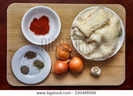 Ingredience`s for soup from beef tripe