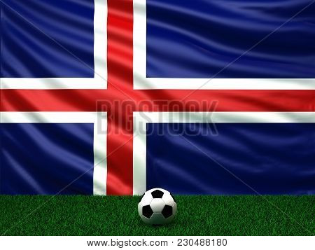 3d Rendering Of Iceland On The Football Field Covered By National Flag
