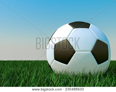 Soccer Ball In The Grass Against The Sky