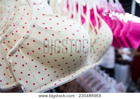 Close Up Beautiful Brassiere Hanging On Bars