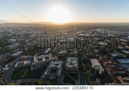Los Angeles, California, USA - February 20, 2018:  Aerial view of USC Village, Jefferson Bl and the University of Southern California campus south of downtown.