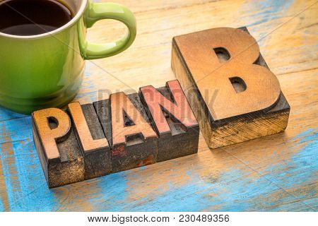 plan B - word abstract in vintage letterpress printing blocks with a cup of coffee
