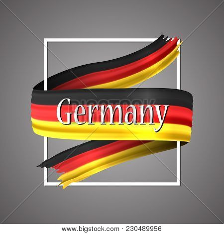 German Flag. Official National Colors. German S 3d Realistic Ribbon. Waving Vector Patriotic Glory F