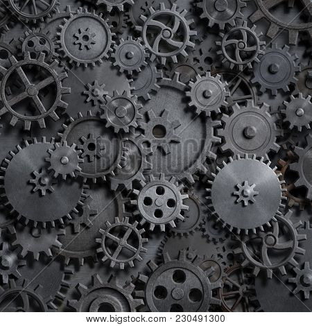 gears and cogs steam punk technology background 3d illustration