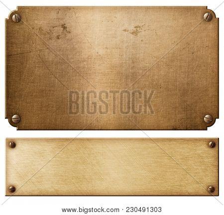 old copper metal plates or nameboards set with rivets 3d illustration