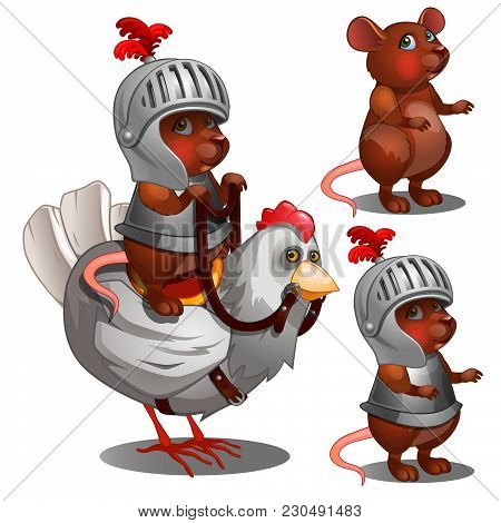 The Mouse Knight In Armor On A White Chicken. Vector Illustration.