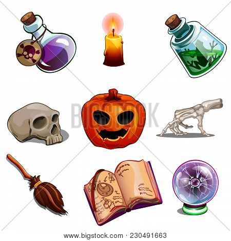 A Set Of Objects For Performing Occult Rites. The Attributes Of The Witch And Sorcerer. Vector Illus