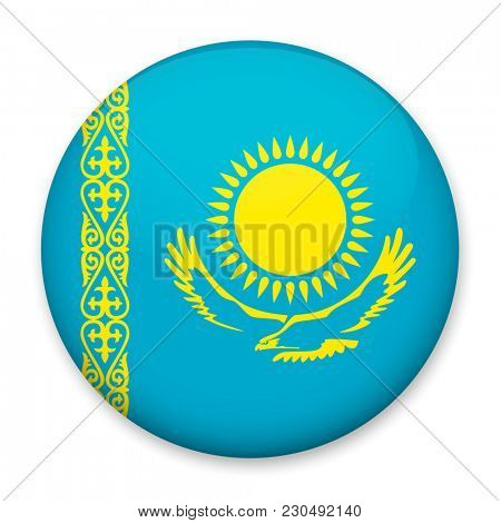 Flag of Kazakhstan in the form of a round button with a light glare and a shadow.
