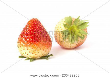 Red Ripe Strawberries Isolated On White Background.