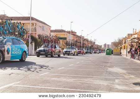Oropesa Del Mar, Spain - January 31, 2018: Bicyclists Participate In The Start Bicycle Race In La Vu