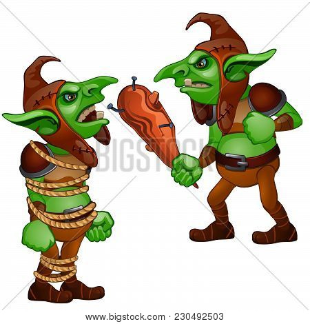 Goblin With A Bludgeon. Tied With A Rope Goblin. Fantastic Inhabitants Of The Forest. Vector Illustr