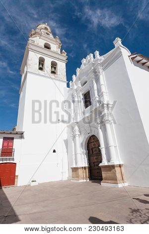 Sucre Church Facade View, Bolivia. Bolivian Landmark
