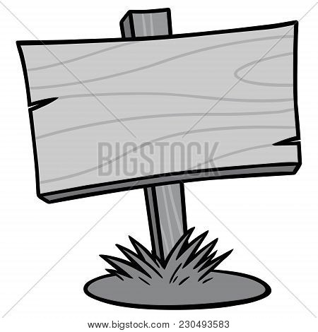 Wood Sign Illustration - A Vector Cartoon Illustration Of A Wood Sign.