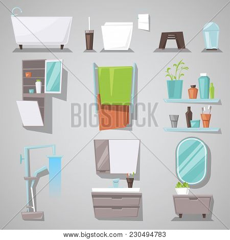 Bathroom Interior Vector Bathtub And Shower With Mirror Furniture In Bathhouse Illustration Set Of F