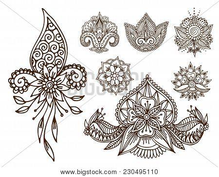 Henna Tattoo Mehndi Flower Template Doodle Ornamental Lace Decorative Element And Indian Design Patt