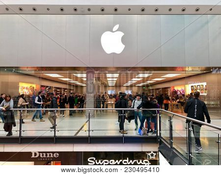 MANCHESTER - MARCH 10, 2018: The Apple Store at The Manchester Arndale shopping centre in Manchester, Northern England, UK.