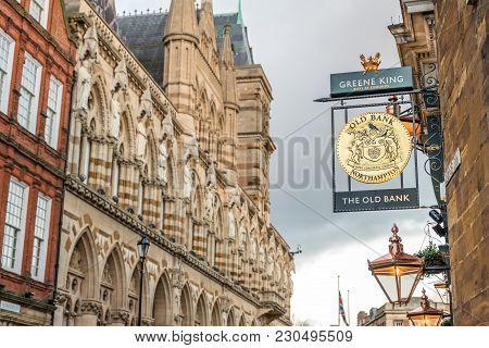 Northampton Uk January 28 2018: The Old Bank Pub Logo Sign Over Northampton Guildhall Building.