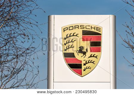 Northampton Uk February 24 2018: Porsche Logo Sign Stand In Northampton Town Centre.