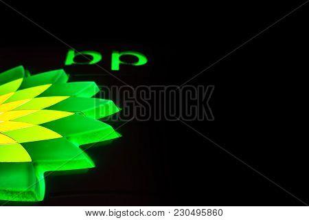 Northampton Uk February 27 2018: Bp - British Petroleum Petrol Station Logo In The Night.