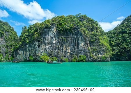 Longtail Boats Going To The Railay Island In Krabi Province Thailand. Phi Phi Is Part Of Mu Ko Phi P