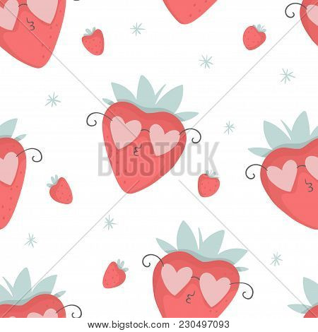 Cute Strawberries In Pink Glasses Seamless Pattern, Nursery Isolated Illustration For Children Cloth