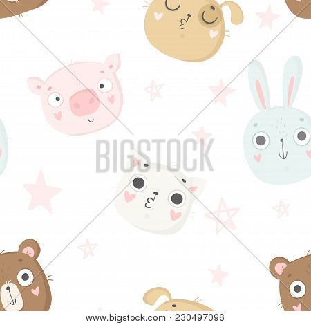 Cute Baby Animals Seamless Pattern, Nursery Isolated Illustration For Children Clothing. Hand Drawn