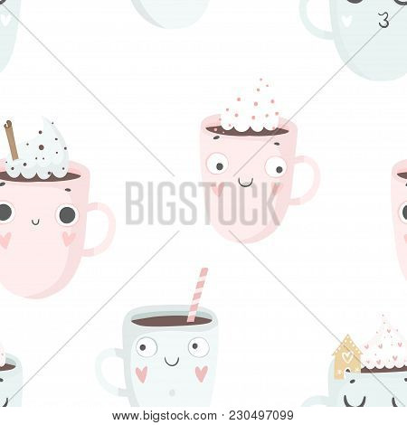 Cute Cups Seamless Pattern, Nursery Isolated Illustration For Children Clothing. Hand Drawn Boho Ima
