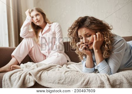 Girl Cannot Handle Pressure, Feeling Miserable And Sad. Gloomy Crying Woman Lying In Nightwear On So