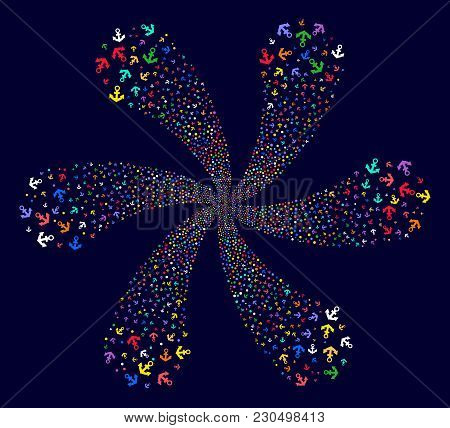 Attractive Anchor Exploding Flower Shape On A Dark Background. Impressive Twist Designed From Scatte