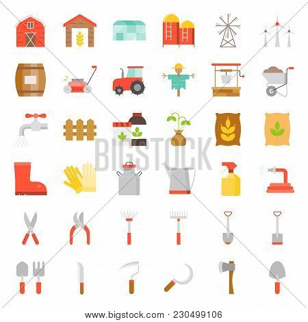 Farm And Agriculture Equipment, Garden Tool Flat Icon