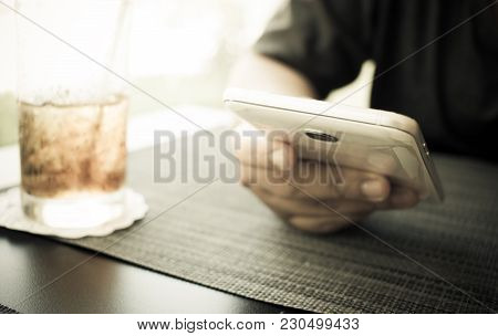 Smartphone Mobile Concept : Business Man Holds Using Online Banking Payment By Network Internet Wire