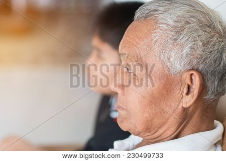 Father And Dad Day Concept : Asian Retired Grandfather And Nephew Or Grandson, Young Boy Hugging Liv