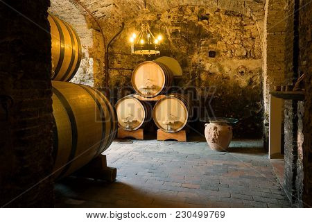 Montepulchano, Italy - September 22, 2017: In The Old Wine Cellar