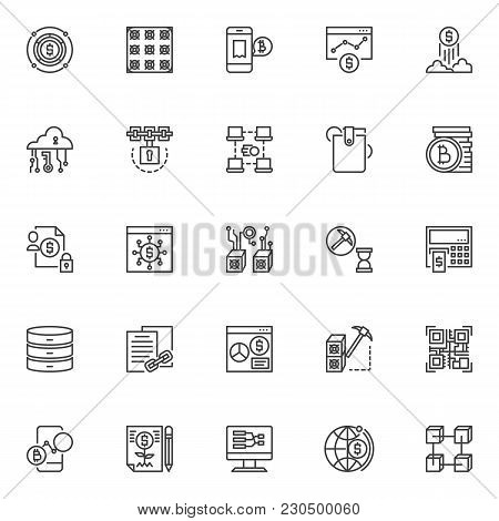 Cryptocurrency Outline Icons Set. Linear Style Symbols Collection, Line Signs Pack. Vector Graphics.