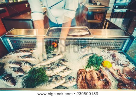 The chef-cooker is taking the freshly caught fish out of the refrigerated counter for the cooking delicious meal in the restaurant. Fresh seafood the fish and octopuses for healthy lifestyle.