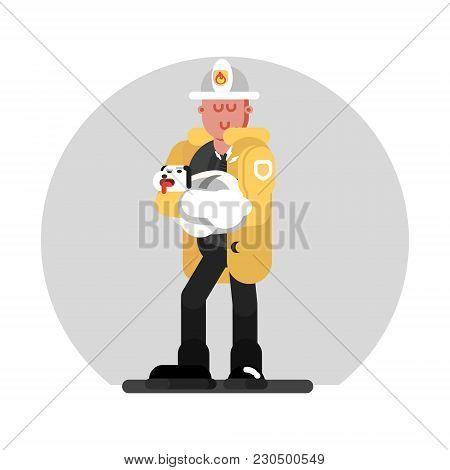 Fireman Saves The Dog. Vector Illustration, Eps 10