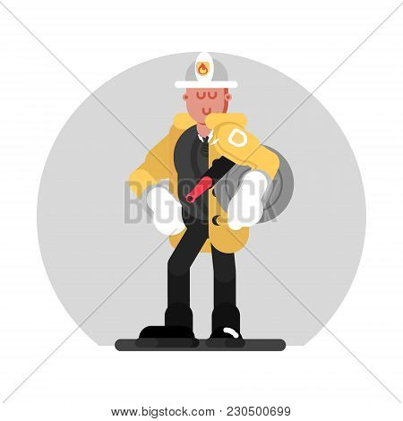 Fireman Standing With Fire Hose. Vector Illustration, Eps 10