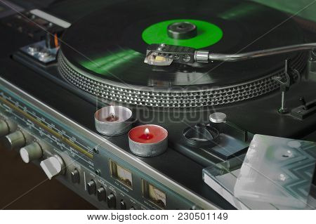 Vintage Vinyl Stereo Player With Candles On A Top, Indoor Closeup